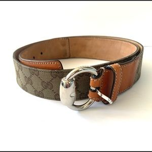 Gucci Monogram Leather Horsebit Ring Belt